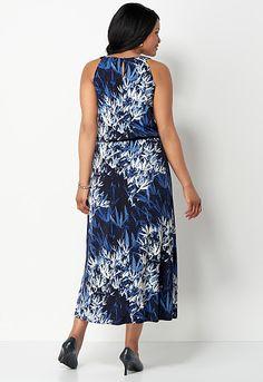 Fern Leaf Print Keyhole Maxi Dress