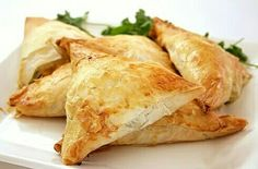 Spanakopita: Spinach and Feta cheese in a triangular roll