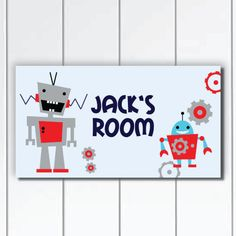 Personalized Robot Boys Nursery Door Sign Plaque