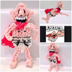 Rainbow Loom CAPTAIN UNDERPANTS. Designed and loomed by Ann Marie Grieco. Rainbow Loom FB page. 03/23/14