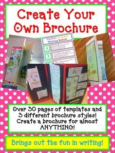 Your students will be completely engaged in this Brochure Report!  This is a fun way your students can show what they have learned about a book in a creative way!    What's great is that this brochure can be used over and over again in so many ways!   For example students can create a brochure for: Travel: State Brochure, Setting in a story Biography: Famous people, Fictional characters, Historical figures Business: Pet Shop, Zoo, Disneyland, Circus, Grocery store The possibilities are ...