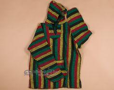 Only $19.95 - Reggae Style Baja Shirt Hoodie -Rasta XXL - Mission Del Rey Southwest