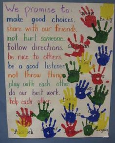 """Teacher Discover Constitution Day Activities Our Promise To Each Other - Social Contract. To make it official students put their """"I promise"""" hand print on the poster. Older students could also sign their hand. 1st Day Of School, Beginning Of The School Year, Middle School, School Play, Pre School, Sunday School, High School, Classroom Behavior, Classroom Activities"""