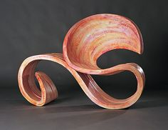 Wood, Yves Boucard, Artist, Ra (Egyption Sun God), 2006, carved and painted plywood telephone chair, 38 x 52 x 25 in.