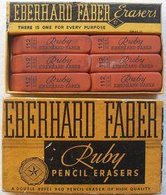 Vintage Eberhard Faber Ruby Eraser Box by Christian Montone. (via swissmiss - photo Christian Montone) Vintage Packaging, Vintage Labels, Vintage Ads, Vintage Designs, Packaging Design, Vintage Stuff, Vintage Branding, Vintage Office, Vintage School