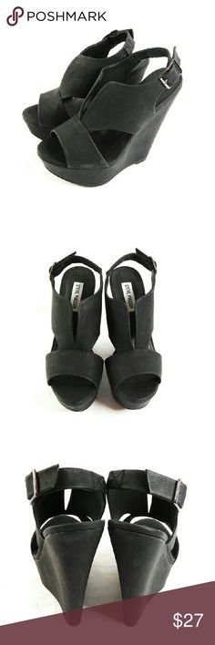 """Steve Madden Xander Platform Wedge Sandals Thanks for checking out my closet. I take all my own pics. The shoes are authentic and in great pre-owned condition. Shoes have man made upper with 1.75"""" platform and 6"""" heel. Steve Madden Shoes Sandals"""