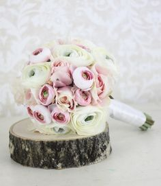 Silk Bride Bouquet Ranunculus Roses Shabby Chic Wedding Arrangement. $79.99, via Etsy.
