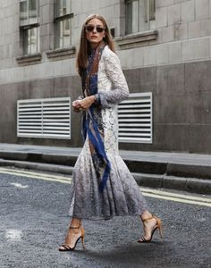 Olivia Palermo. Modest long sleeve printed maxi dress | Follow Mode-sty for stylish #modest clothing #sleevesplease #nolayering