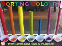 Today's activity is sorting and placing coloured pompoms into the matching coloured cardboard roll and catching them in a bowl.   It was a great way to reinforce the learning of colours, checking for understanding and having some fun with colours.  I think this Sorting Colours with Cardboard Rolls is also a great rainbow activity too!