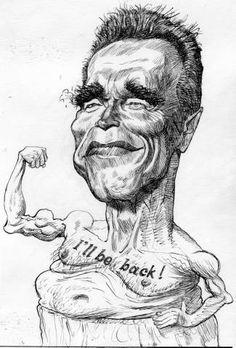 Arnold Schwarzenegger (caricature) by Vladimir Motchalov (Dunway Enterprises) http://dunway.com - http://masterpaintingnow.com/how-to-draw-everything?hop=dunway