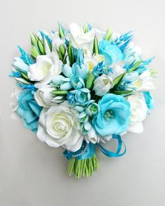 Sky Blue wedding bouquet aqua blue bouquet aqua by FlowersofSharon Turquoise Wedding Flowers, Turquoise Bouquet, Bridal Bouquet Blue, Bridal Flowers, Flower Bouquet Wedding, Beach Wedding Bouquets, Wedding Bridesmaids, Boquette Wedding, Wedding Flower Guide
