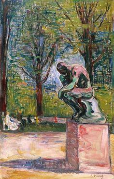 "edvard munch, rodin's ""thinker"" in dr. linde's garden in lubeck, 1907"