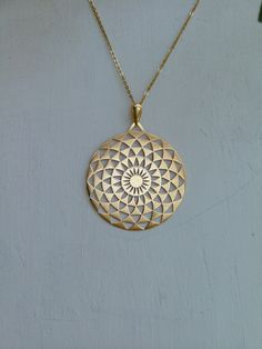 MIUTUAL TRUTH Uniquely designed 24 k Gold plated Pendate Necklace. Inspired by crop circle geometric structures/