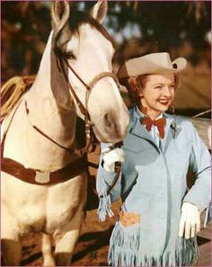 Dale Evans and Buttermilk, a quarter horse saved from the slaughterhouse. With time and patience, Buttermilk became a loving, trusting horse. He was faster than Trigger & Roy would ask Dale to hold him back as Trigger was always supposed to be out in front. Both horses lived to age 31,