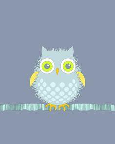 Nursery bird art print_Fuzzy Blue Baby Owl *wish I had this when I made the nursery! Baby Owl Nursery, Baby Room Art, Baby Owls, Elephant Nursery, Nursery Art, Baby Baby, Nursery Decor, Owl Illustration, Illustrations