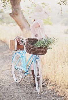 Dreamy Whites: T. Waterbury Wrap Bracelets, Brooklyn Cruiser, Vintage French Bike Basket, Vintage French Breadboards, Anthropologie India Sun Hat, Tartine Bakery