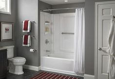 Install a Tub Surround or Shower Surround - Love the color scheme here, too!