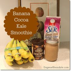 Healthy On-The-Go Snack: Banana-Cocoa-Kale Smoothie in mason jar. DagmarBleasdale.com #spon #SilkAlmondBlends