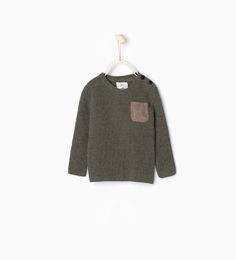 Image 1 of Knit sweater with suedette pocket from Zara