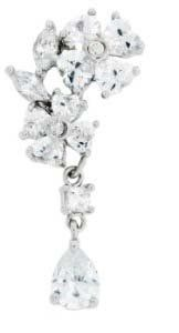 $10.50 Cz Flower Dangle Reverse Belly navel Ring piercing bar body jewelry Top Mount