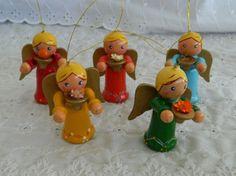 Lot of 5 Wood Wooden Angel Christmas Tree Ornaments Painted Folk Tainwan