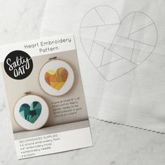 """Practice and perfect your hand-stitching skills when you whip up this original, modern embroidery design by Salty Oat. The Heart hand-embroidery pattern is perfect for beginning and experienced stitchers alike, and can be personalized with your favorite colors, threads, and stitches. Its an excellent gift for crafty friends, or could be stitched, framed, and gifted for a house warming, a wedding, or just because.  WHATS INCLUDED •An 8"""" x 8"""" linen-cotton canvas panel, with the Heart design…"""
