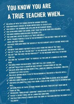 Teacher humor. You know you're a teacher when...