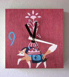 Hand-Printed Wood Prancing Fox Clock