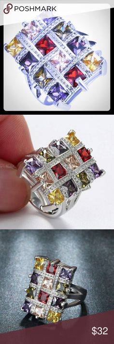 Multicolor925 Silver Square CZ Grid Ring New .925 Silver Multicolor Square CZ Grid Ring - Size 7 & 9 ABSOLUTELY BEAUTIFUL! New in Plastic bag Jewelry Rings