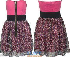 Womens Bandeau Padded Zip Front Top Ladies Floral Elastic Sheering Skater Dress