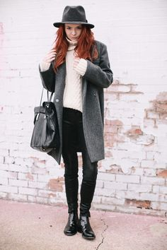 classic outfit with gray coat and chelsea boots