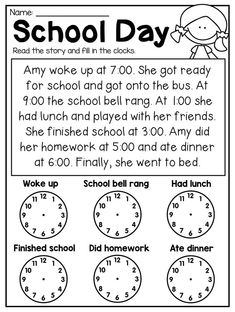 First Grade Time Worksheets - Hour, Half Hour & Quarter Hour - Distance Learning 2nd Grade Math Worksheets, 1st Grade Math, Teaching Time, Teaching Math, Teaching Money, Maths, Homeschool Math, Homeschooling, Homeschool Worksheets