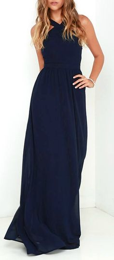 More romantic than a candlelit dinner or a trip to the Eiffel Tower, the Air of Romance Navy Blue Maxi Dress will have you feeling the love! Lightweight Georgette falls from a modified halter neckline, into a seamed bodice supported by semi-sheer shoulder straps. A sweeping skirt cascades from a banded waist completing this elegant maxi dress.  #lovelulus