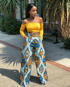 model of wide pants in African fabric, example women& trousers in wax . African Fashion Designers, African Inspired Fashion, African Print Fashion, Africa Fashion, African Print Dresses, African Fashion Dresses, African Dress, Fashion Outfits, African Print Clothing