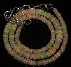 """47 Crts 1 Strands 3 to 8 mm 14"""" Beads necklace Ethiopian Welo Fire Opal  A+1636"""