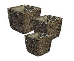 Set 3 maceteros de junco - gris oscuro