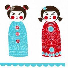 Kristen Doran Kokeshi Doll Panel Red & Blue - Kelani Fabric