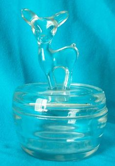 Vtg Jeannette Clear Depression Glass Deer Fawn Powder Jar Figural 6"