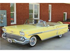 Yeah, baby! Love the curved front window '58 Yellow Chevrolet Impala Convertible