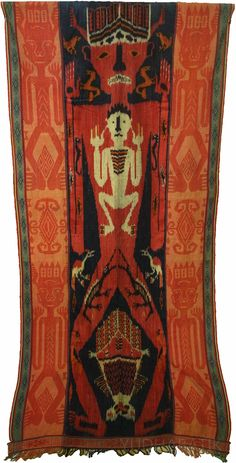 """""""Jembrengan"""" or a whole view of ikat Sumba """"hinggi"""" or a blanket size fabric for men, in """"tau"""" pattern. Using several Sumbanese typical pattern such as : 'tau' (human figure), 'kurangu' (prawn, represent an afterlife), a couples of birds and seahorse, and also a couple of crocodile. Done in rusty red color, this fabric easily recognize as """"kombu"""" fabric, refers to the use of 'akar kombu' or noni tree root. Probably from Kanatang, East Sumba - NTT"""