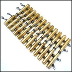 Bullet Ammo Brass Casing & Hematite Cuff Bracelet by VitalMadness, $85.00