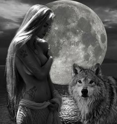 And the Daughter of the moon was blessed with wolf form,no longer would she be alone, the wolves would welcome her into their hearts. Wolf Images, Wolf Pictures, Wolf Spirit, Spirit Animal, Fantasy Wolf, Fantasy Art, Native American Women, Native American Indians, Wolf Tattoos Men