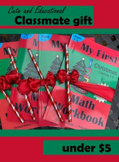 Cute and educational gift idea for the whole preschool class! My First Math Workbook: Christmas Counting 1-5 paired with a sparkly candy cane pencil and wired satin ribbon. Educational Christmas Gifts, Math Workbook, Preschool Class, Gifted Education, Student Gifts, Candy Cane, Counting, Homeschooling, Holiday Gifts