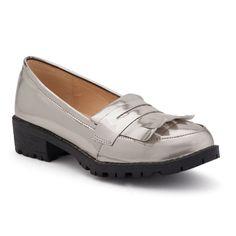 NYLA Women's Metallic Penny Loafers, Girl's, Size: 9, Med Grey