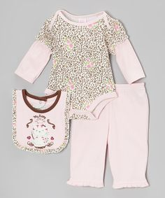 Take a look at this Pink 'My Kitty' Bodysuit Set by Petite Bears on #zulily today!