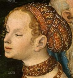 .:.Detail from Salome with the head of St John the Baptist at Herodes table. 1537. Lucas Cranach the Younger. Staatliche Kunstsammlungen Dresden.