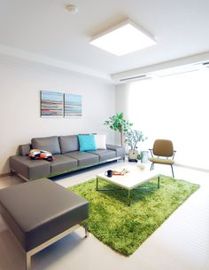 Grey Couch With A Green Carpet