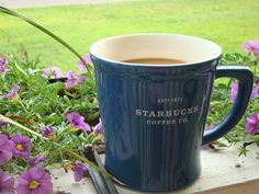 ✿ Gotta love Coffee and Relaxing on my patio deck.✿ (ˆ◡ˆ) ✿ Smell the Flowers! But First Coffee, Coffee Love, Coffee Cups, Fitness Inspiration Body, Blue Cups, Starbucks Coffee, Mug Cup, Morning Coffee, Mocha