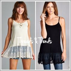 Back In Stock! Cami Lace Extenders Back by popular demand, Cami lace extenders in colors black and taupe. Pair with tops, tunics, sweaters. Made of a soft jersey knit and spandex. Sizes S/M, M/L, L/XL Threads & Trends Tops