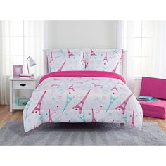 Better Home Style Multicolor Pink Blue Green Butterflies Birds Trees Printed Fun Design 7 Piece Comforter Bedding Set for Girls//Kids//Teens Bed in a Bag with Sheet Set # Tree Butterfly Queen